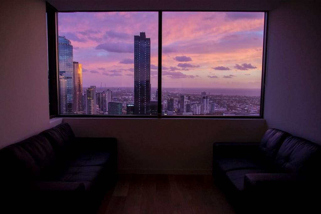 The living room sunsets