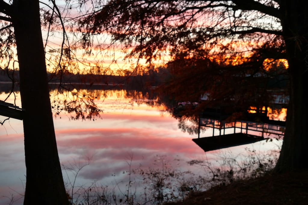 Lake view at dusk.