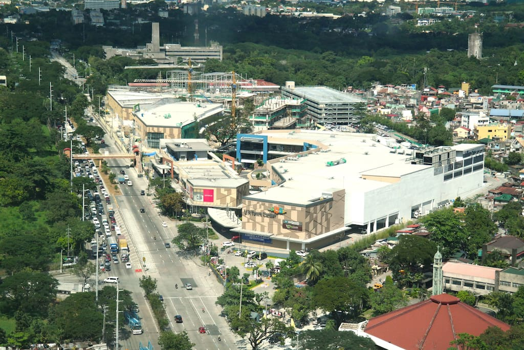 UP Town Center, the newest and biggest mall in the area as seen from the bedroom window.