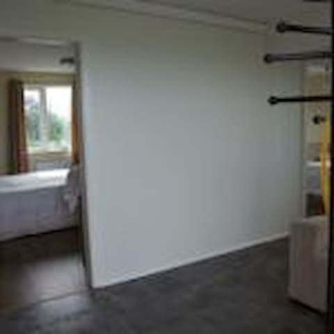 enterance is big shows into the masterbedroom with a 180x200 bed