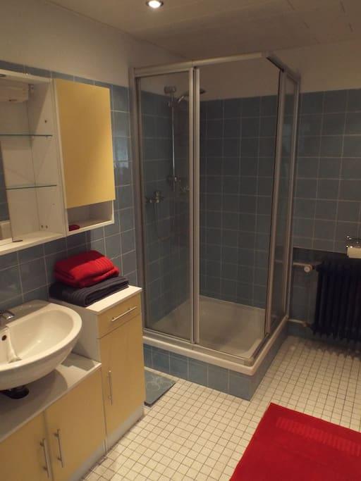 Großes Badezimmer mit Dusche, WC und zwei Waschbecken mit passendem Stauraum.