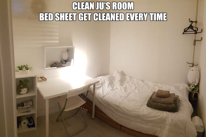 clean Ju's place. Think me as Korean Room mate.
