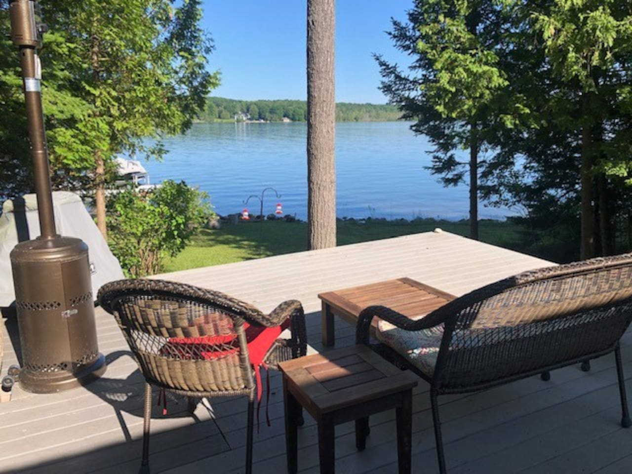 View from deck of lake cottage