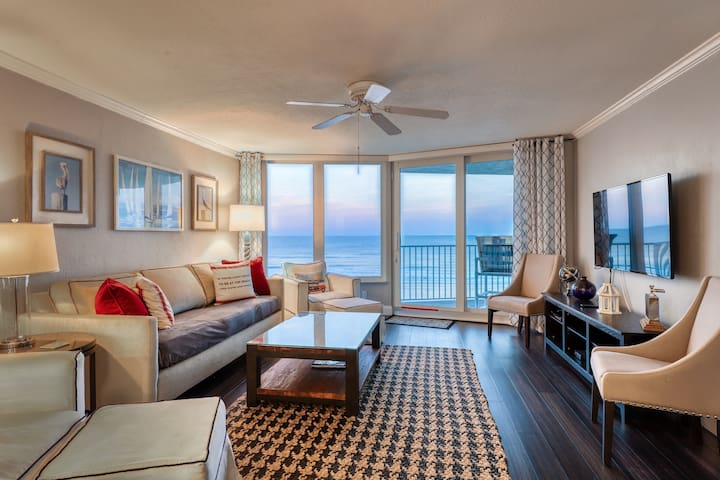 Oceanfront condo w/ a private balcony, views, shared pool, gym, & beach access