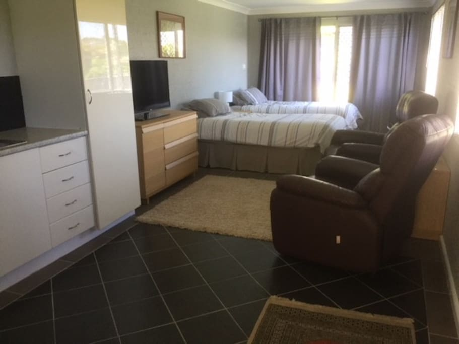 Twin king single beds, lounge and kitchenette.