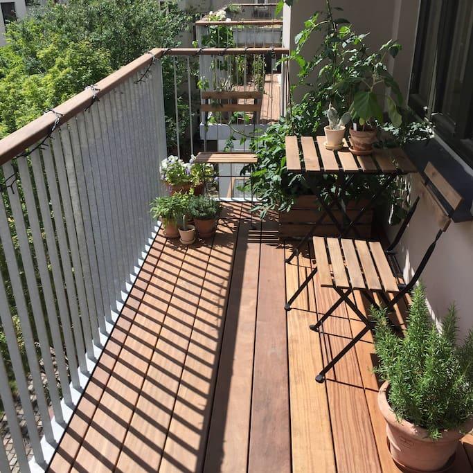Spacious sunny balcony