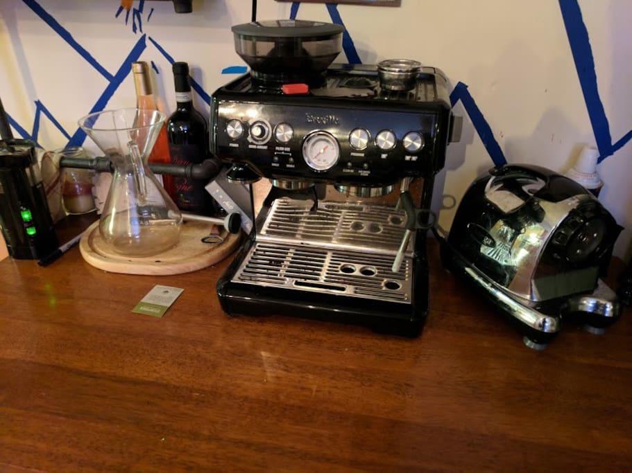 Fancy Espresso machine (left), juicer (right)