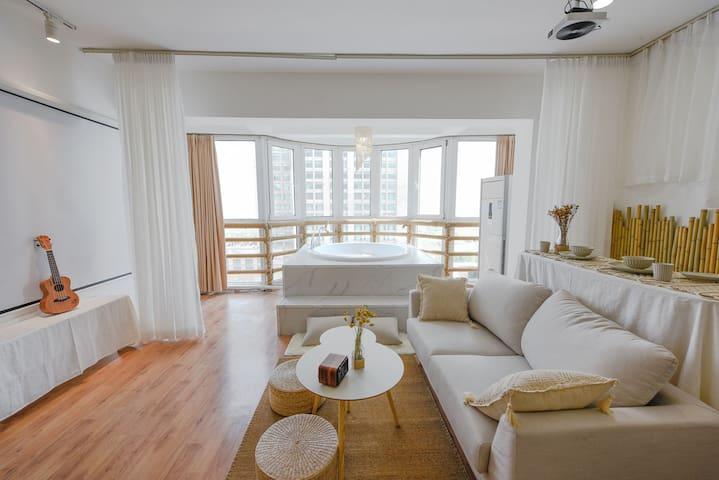【逸境·逸居】会展中心CBD落地窗超大圆形浴缸高品质民宿