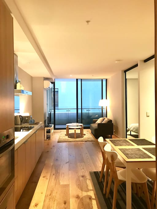 Living room and dinning area with open plan floor