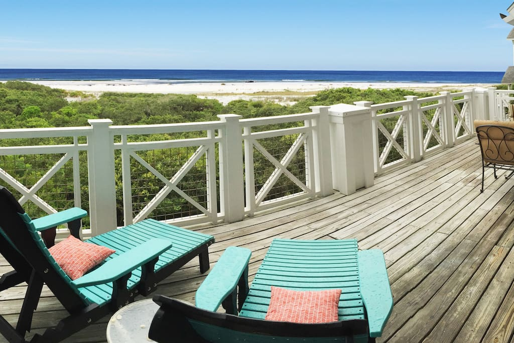 Relax in the chaise lounges on the extra large deck at Inspiration