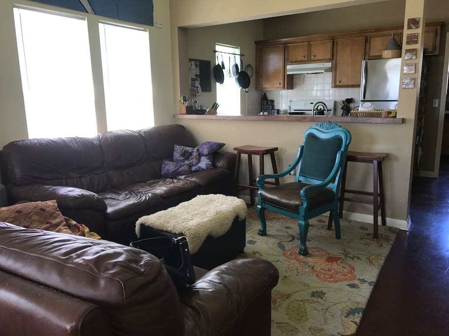 Comfy living room. Great for naps or watching large screen TV.