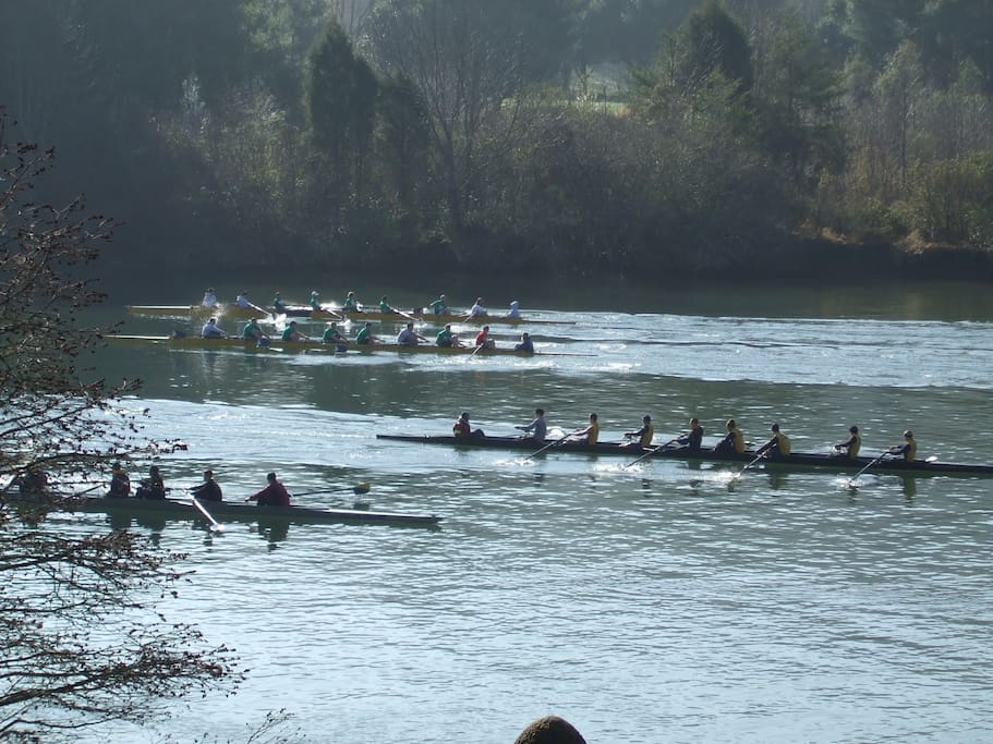 Spring rowing on Melton Hill