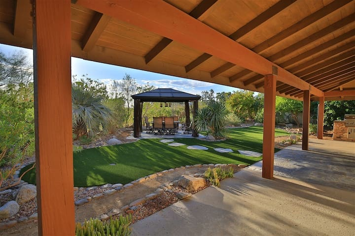 Large Veranda Patio in Relaxing Custom Backyard
