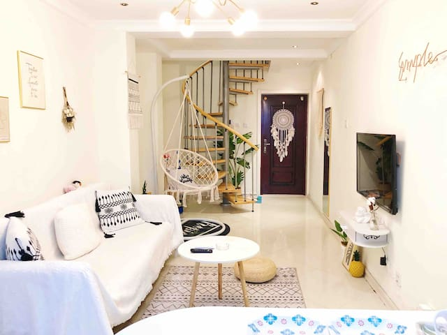 【DREAM-喜度】INS风小清新 紧邻火车站 温馨loft复式公寓 交通便利