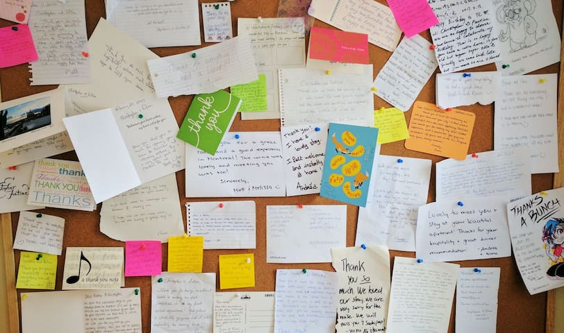 Our awesome wall of guest messages, thank you notes, well wishes, and greeting cards from people all over the world who enjoyed a perfect stay at our place. :)