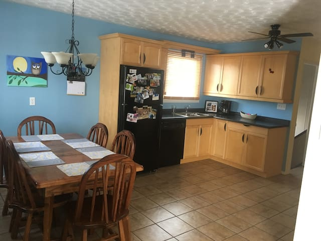 Enjoy our fully functioning shared kitchen and dining area.