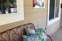 """✨Front Porch with (or without) Privacy Screen. A greeaat (and Entertaining!) way to start your day with coffee and a friendly wave """"Good Morning""""! Monday Mornings- the Only Day you may be awakened with street noise (Garbage Day)"""