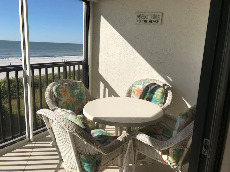 Enjoy the view of the Gulf from the tiled lanai