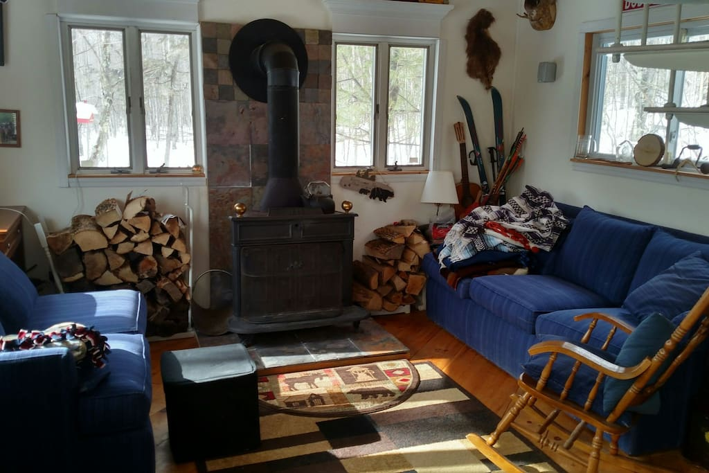 The fireplace and my rocking chair.