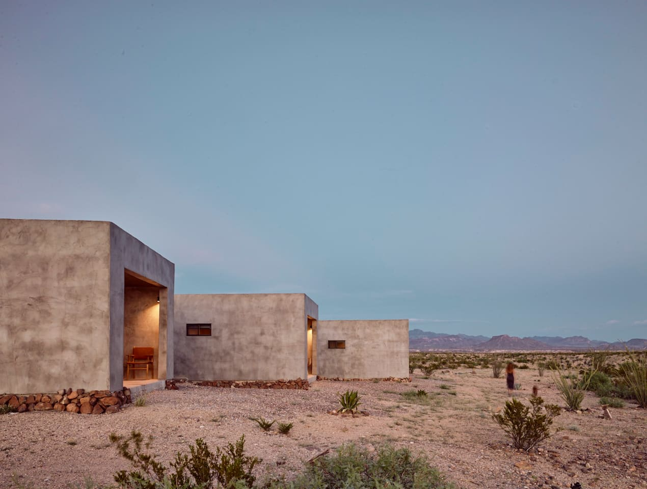 Exterior Shot of Casitas No. 11, No. 10 & No. 9 at dusk on the Willow House Property.