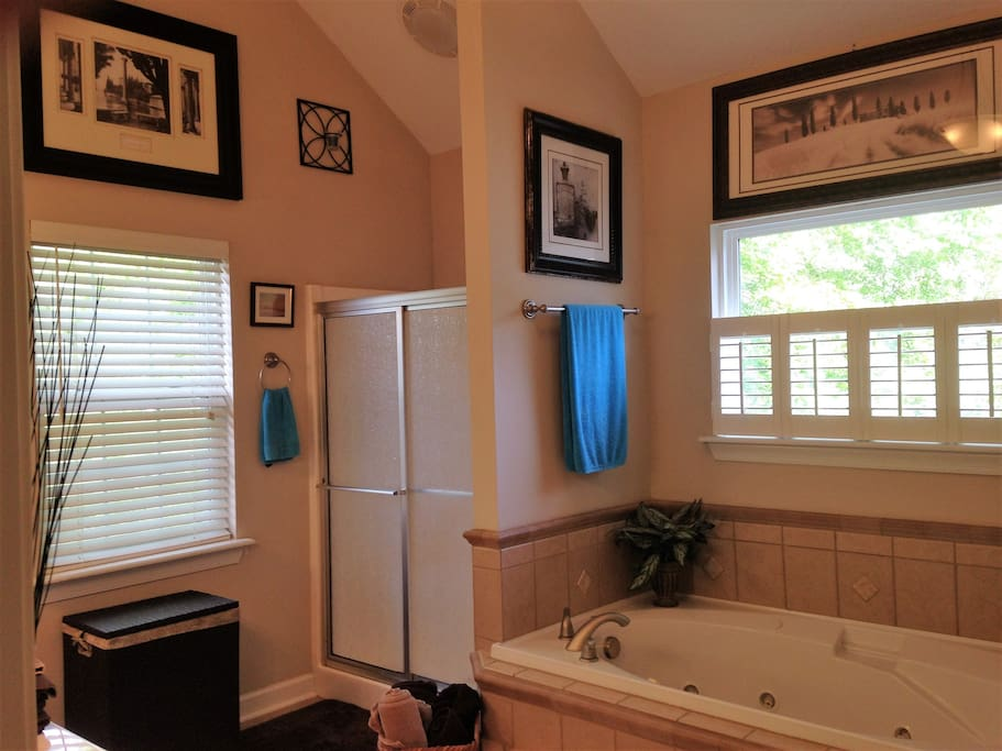 Master Bathroom with dual vanity, shower, jetted garden tub and separate lavatory.
