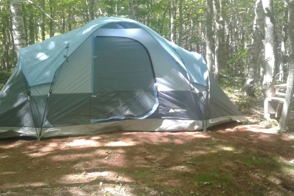 1 of 2  tent with 2 beds. Bedding & pillows included. 15 x 9 ft each