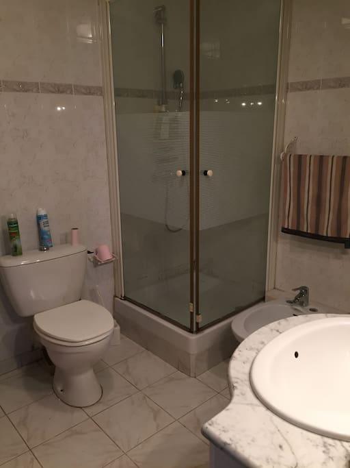 Grande salle de bain avec douche, lavabo, bidet et WC. serviettes de toilette fournies.