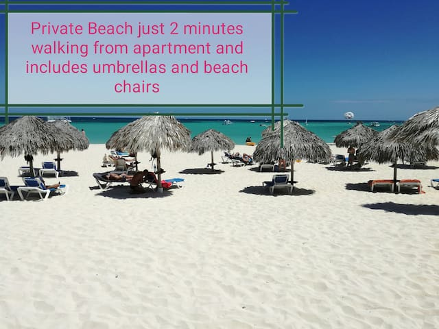 We offer for free umbrellas and beach chairs