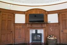 TV and wood burning stove