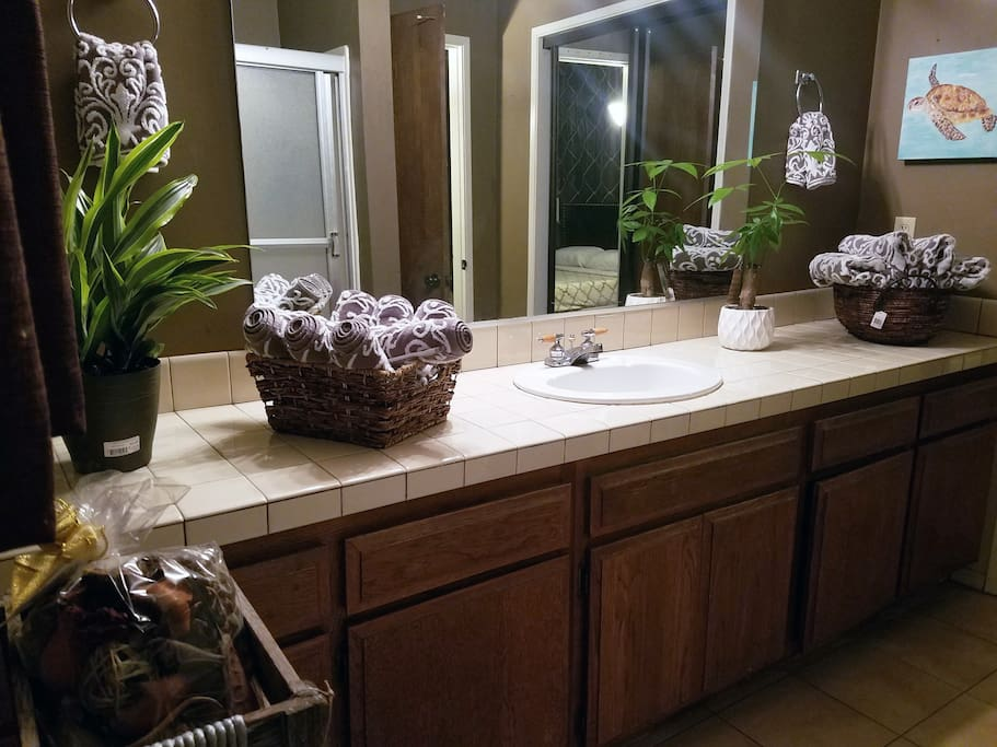 Your own Private bathroom with a Super-wide counter top and nice Floral Design.