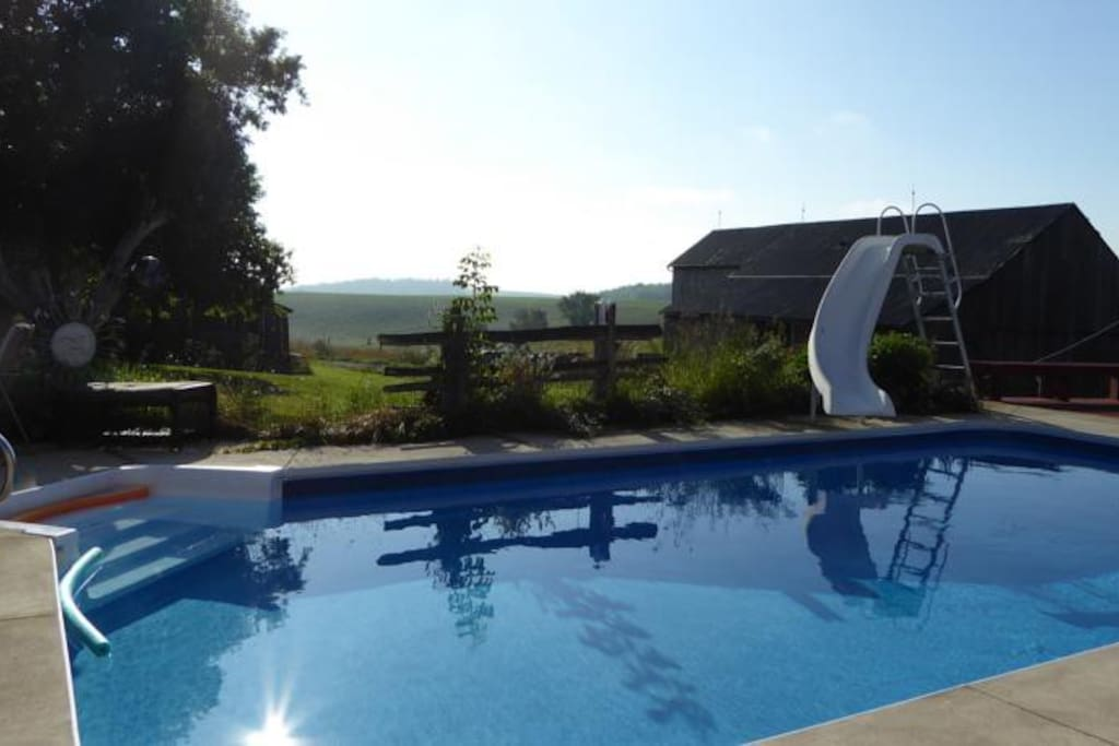 Pool overlooking barn and fields