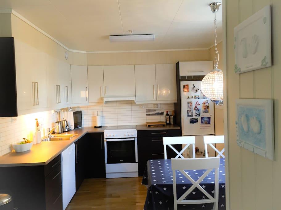 Kjøkken med mikrobølgeovn, komfyr, oppvaskmaskin, frys-/kjøleskap. Fullt utstyrt med kjøkkenutstyr, servise etc.
