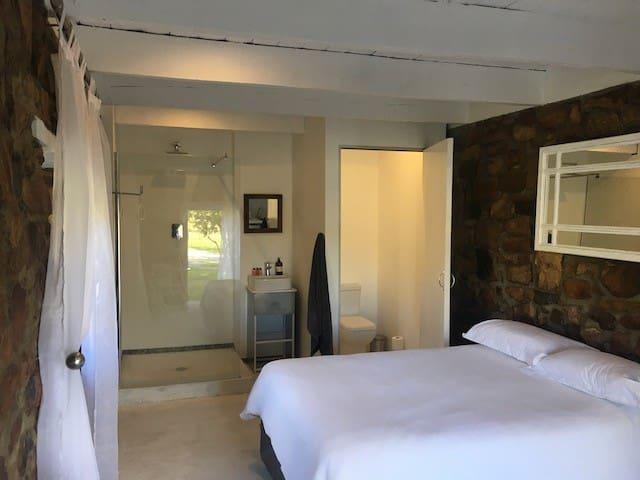 en-suite private toilet, shower and basin
