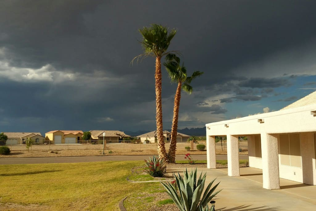 Thunderclouds in the distance. Lightning storms are amazing (more entertaining than tv).