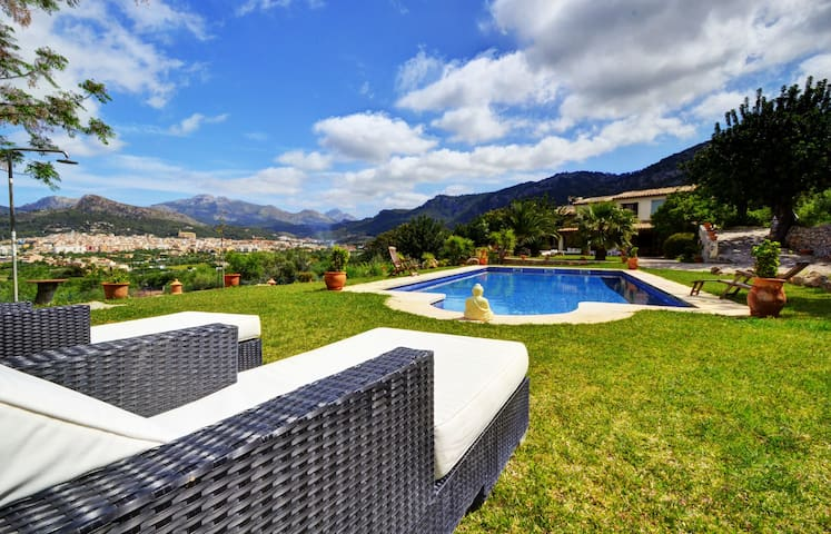 VILLA PORT ANDRATX, private terrace with pool and mountain views.