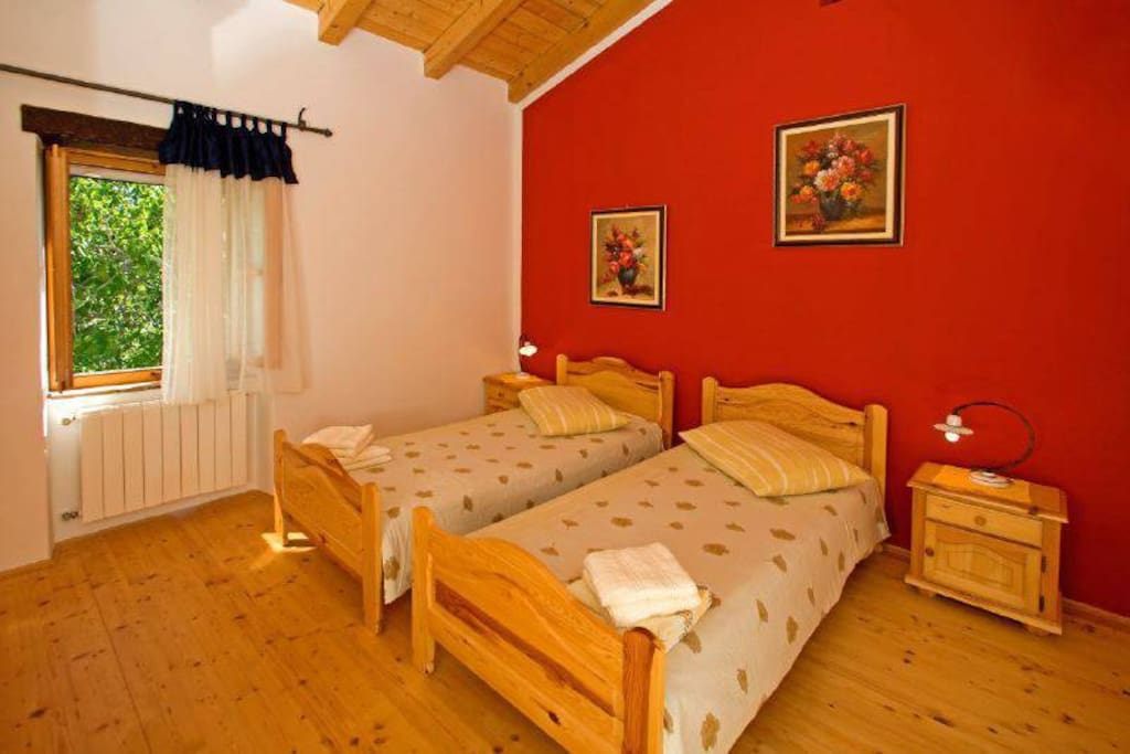 In our double bedroom you can have a deep long sleep undisturbed by any kind of sounds except the nature.