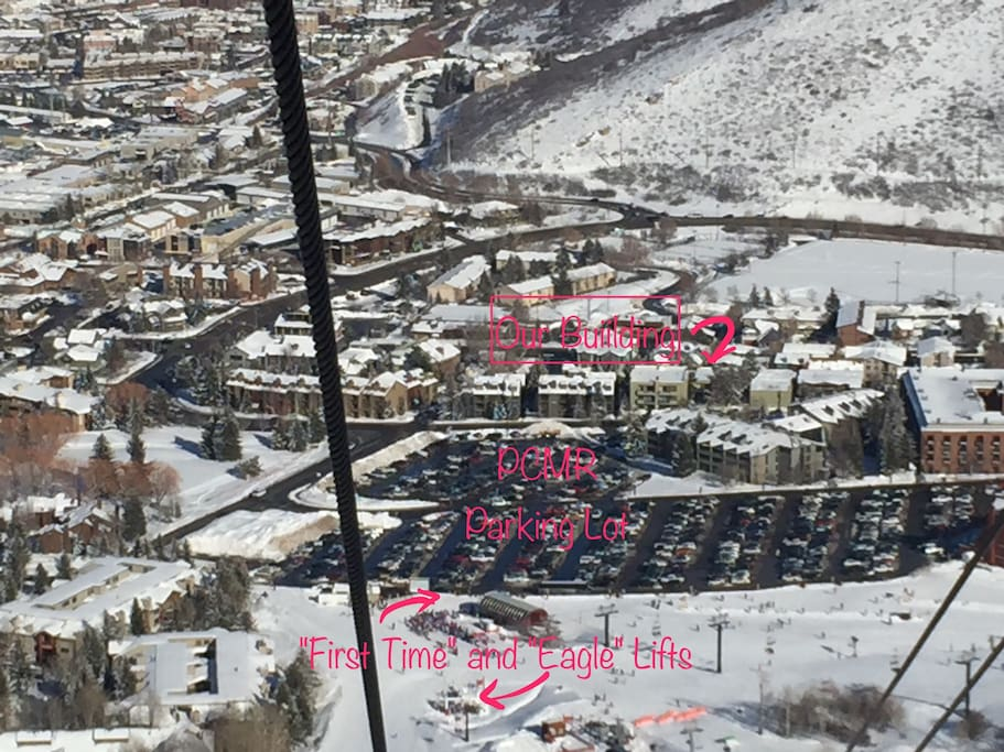 Super easy walk right across the street, through the resort parking lot, and onto ski lifts!