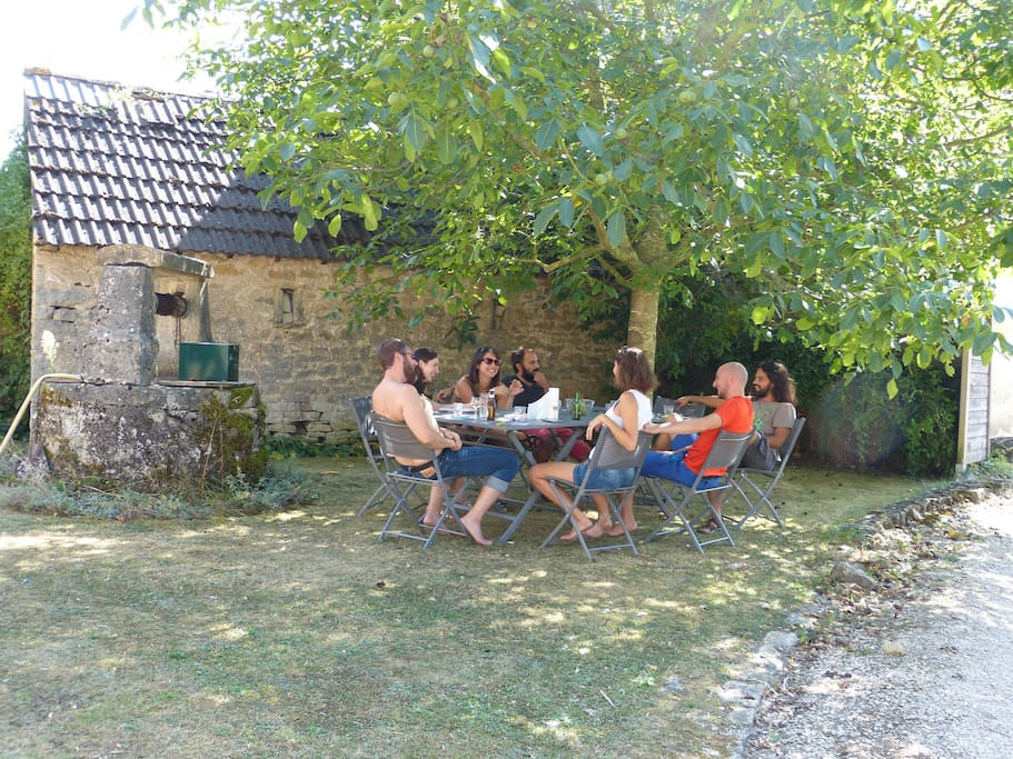 Afternoon drinks in the shade of the walnut tree