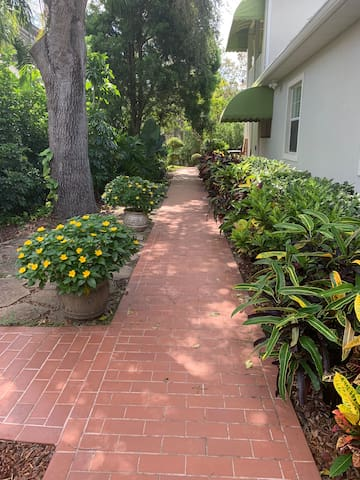 Walkway to 800 sq. ft. private suite, coffee bar