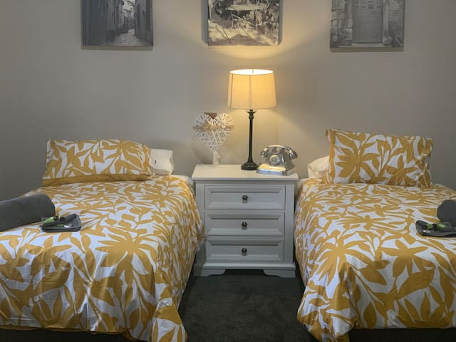 Bedroom 3 can be configured with either 2 king single beds or 1 king size bed dependent on your needs. Additional mattresses can be provided.Beds have electric blankets and 1 bedside table.  A small range of toys can be provided if required.