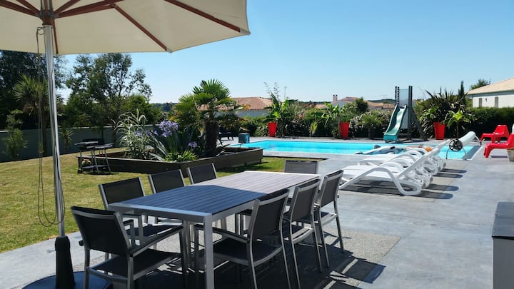 Maison entière avec piscine chauffée 28°, au calme