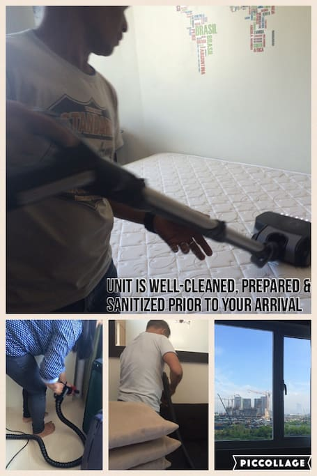 Preparing the unit before the arrival of guests. Cleaning every part of the room thoroughly, making sure that it is sanitized prior to your stay.