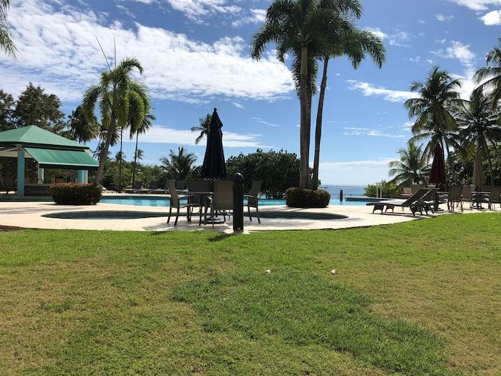 Serenity by the Sea garden condo facing pool, Wifi