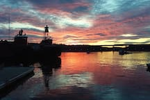 From our guest suite, walk one mile to downtown to see the sunset at the Harbor Landing looking upriver at the Passagasawakeag.