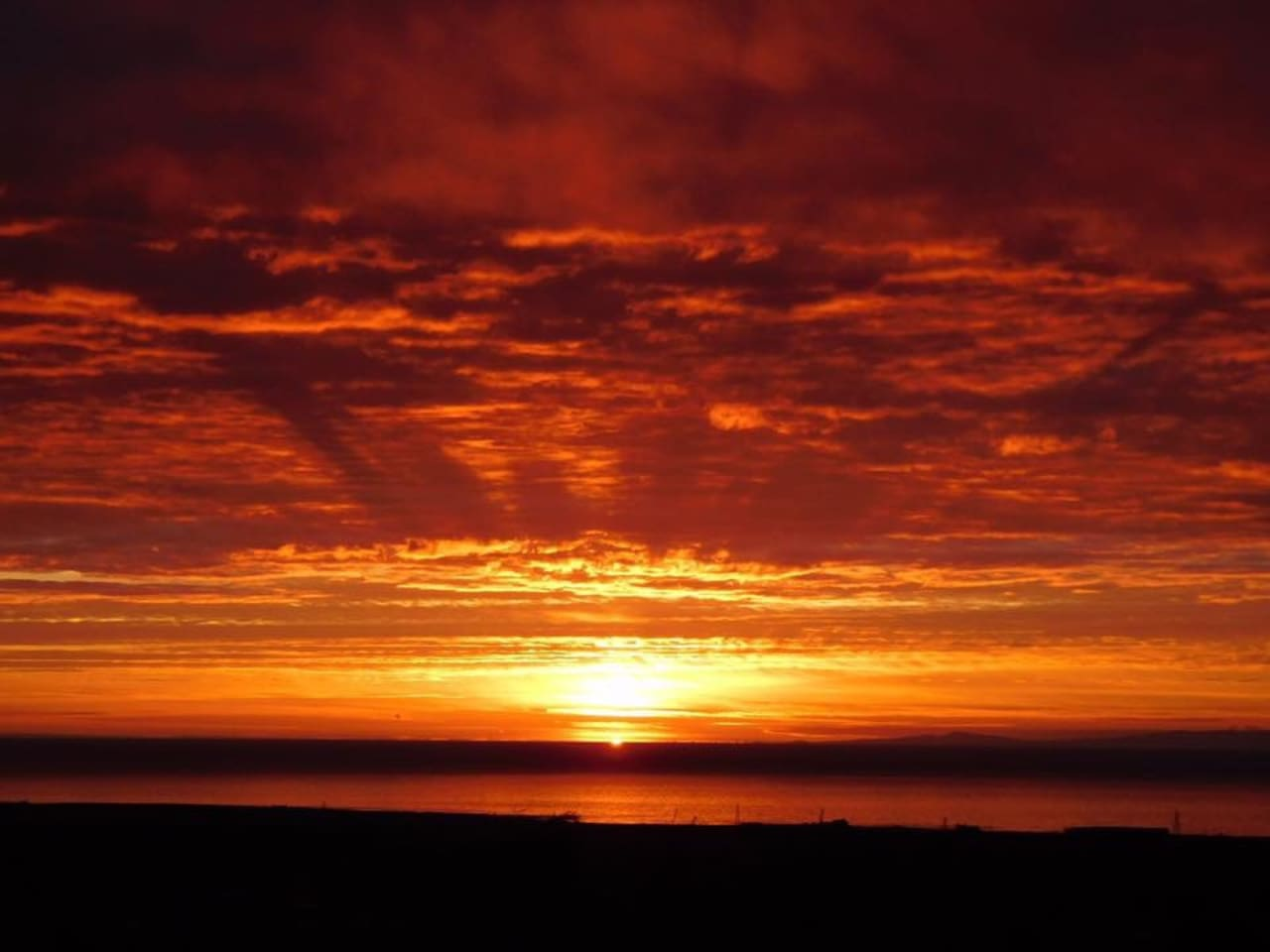 A sunset view from the house across the Irish Sea to the Isle of Man.