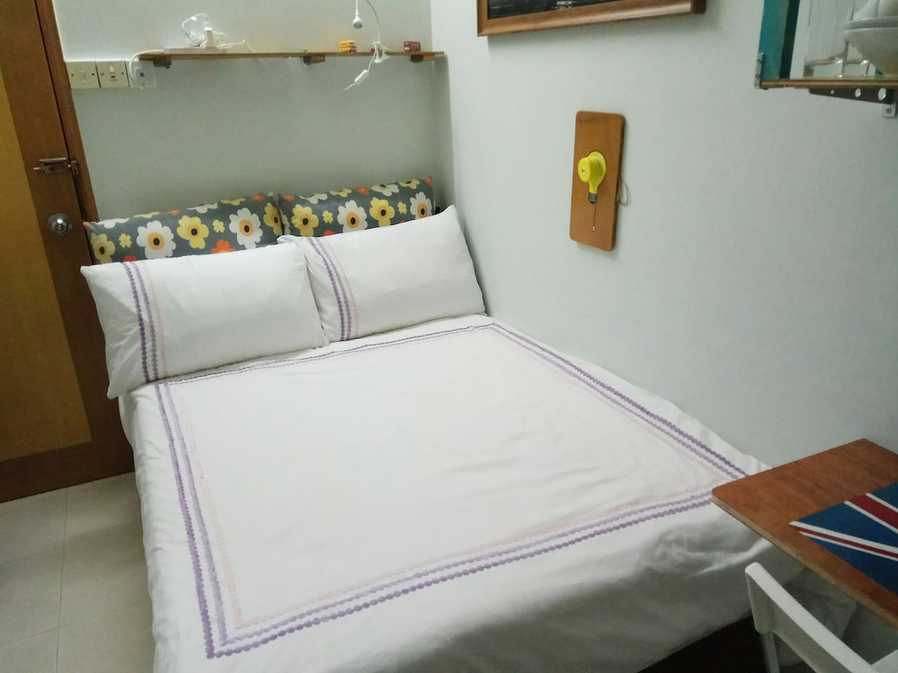 Comfortable bed in airy studio.