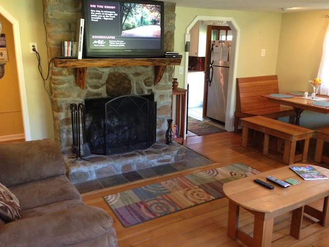 Living room:  Gas log fireplace, wall-mounted HDTV and dining area.