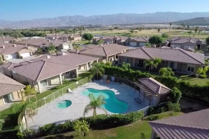 Villas at the Vineyards, where you are out of the hussel and bussel. Enjoy captivating unobstructed views of the mountains and desert valley