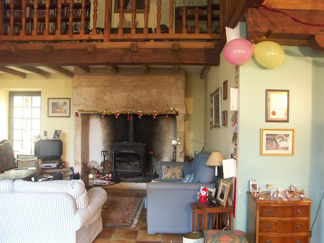 View of sitting room with wood burner