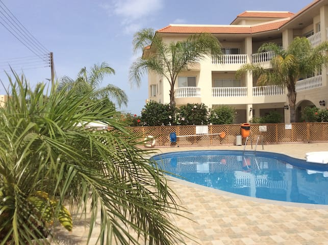 Spacious apartment with pool & views of Famagusta.